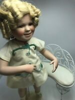 "Danbury Mint 16"" Shirley Temple ""Our Little Girl"" Porcelain doll w/ Chair/Bench"