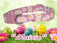 """""""Maisie"""" Custom springtime/Easter daisies Dog Collar pink with pink buckle"""