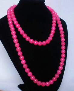 NEW 36'' LONG GENUINE 8MM Rose Pink Jade ROUND NECKLACE
