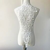 60*32cm Large Beaded Embroidery Bodice Lace Applique Patch Back DIY Bridal Dress