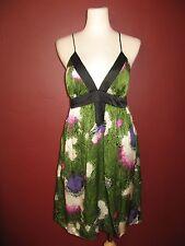 Single Brand S 100% silk green purple black white criss cross back dress