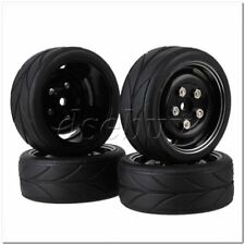 4x Black RC1:10 Rubber Tyres Tires Alloy Wheel Rims with Screws for On Road Car