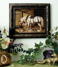 SALE Herring Arabian Farm Horse Print Antique Style Framed 11x13 Pony picture fy