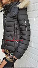 Zara NEW black WATER REPELLENT HOODED PUFFER COAT JACKET SIZE M