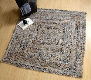 Jeannie Braided Natural Beige Jute and Denim Blue Square Rug Medium Large