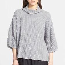 NWT Eskandar GRAY Handloomed Merino Bubble Rib Knit Funnel Neck Sweater $1195