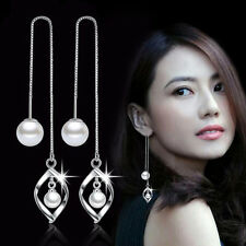 Fashion Ladies Jewelry Boho 925 Silver Pearl Threader Earrings Gift Party