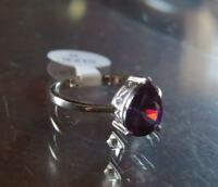 NEW, DESIGNER, STERLING SILVER, GENUINE, 1.5 CT, MARQUISE CUT AMETHYST RING sz 8