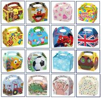 6 x Childrens Kids Themed Carry Food Meal Box Birthday Party Gift Bag Boxes