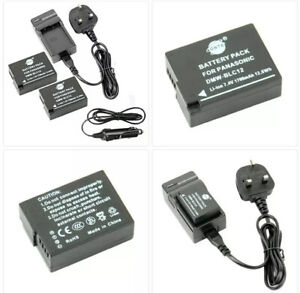 DSTE® 2x DMW-BLC12 Replacement Battery + DC114U Travel and Car Charger Adapter