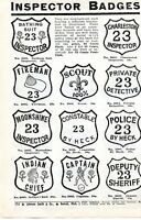 1940 small Print Ad of Inspector Badges bathing suit moonshine constable indian
