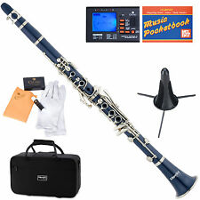 Mendini Bb Clarinet Blue ABS Body +Tuner+Care Kit+Stand+11 Reeds+Case ~MCT-BL