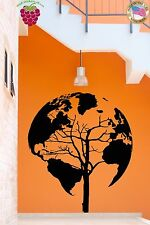 Wall Stickers Vinyl Decal Earth Tree World Map Cool Decor Living Room (z2076)
