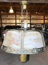 ANTIQUE Chandelier Ceiling Light Fixture Brass