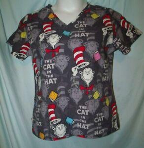 Dr Seuss Uniforms Multicolor Cat in the Hat V-Neck Scrub Top Size M 3 pocket