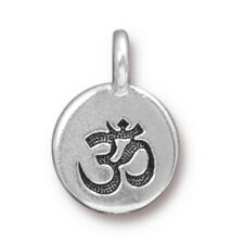 TierraCast Om Charm, Antiqued Silver Plated Lead Free Pewter (T110)