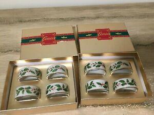 8 Lenox Holiday Dimension Pattern Napkin Rings In Original Box Holly Berries