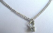 Collier pendentif chaine bijou vintage 70' couleur argent cristal  diamant * 279