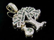 "10K Yellow Gold Genuine Diamond Dollor Money Bag Tree Pendant Charm 3/4 Ct 1.4"""