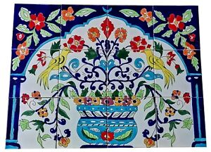 Handbemalte Fliesen Fliesenbild Vögel Vase Blumen Spanische Fliesen Motiv 60x45