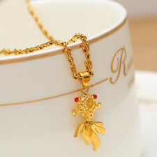 Stylish Women Girls Filled Ruby Crystal Chain Goldfish Pendant Necklace Jewelry
