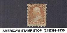 1867 US 100 - Benjamin Franklin - 30c Orange - Part OG, Used, F Grill*