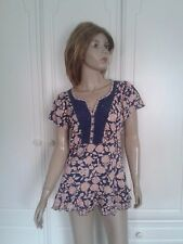 MARKS & SPENCER  WOMAN BLUE FLORAL TOP SIZE 14
