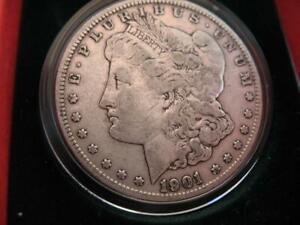 OLD 1901 U.S.MORGAN LIBERTY EAGLE SILVER DOLLAR BULLION BARTER COIN + GOLD