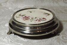 Antique Teapot Stand Antico Sottoteiera ceramica e metallo cromato c1900