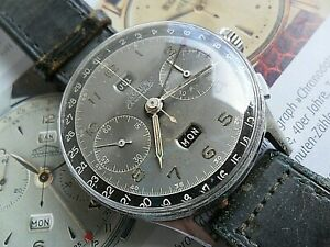 Vintage 1940's S/S Angelus Chronodato Triple Date Calendar Chronograph Watch