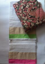 Kota Doria Saree Ganga Jamuna border - White with Kalamkari BP