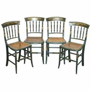VERY RARE SUITE OF FOUR REGENCY CIRCA 1815 HAND PAINTED BERGER RATTAN CHAIRS 4