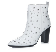 Bronx Studded High Heeled Leather Ankle Boots White UK 6/39 Brand New/Boxed £139