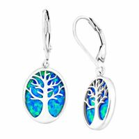 Tree of Love Created Blue Opal Cutout Earrings in Sterling Silver