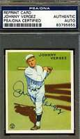 Johnny Vergez Psa/dna Signed 1933 Goudey Reprint Authentic Autograph