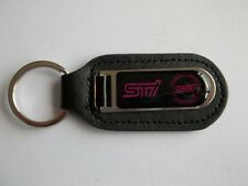 Subaru STi Tecnica International Genuine Leather / Stainless Keyring Keyfob New