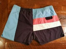 Vintage Men's XL short shorts swim trunks GUYSPORT blues salmon nice drawstring