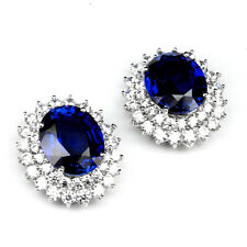 Sapphire Kashmir Blue Earrings Oval 15.60 ct. 925 Sterling Silver Cluster Gift