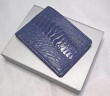DOUBLE SIDE Blue Handmade Genuine OSTRICH Leather Skin MEN'S Bifold Wallet
