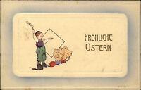 Frohe Ostern Glückwunsch 1913 Junge mit Küken Prägekarte Präge-AK Happy Easter