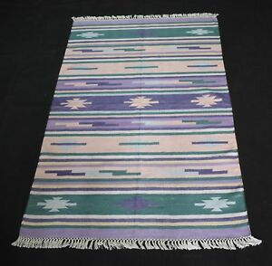 Handmade Scandinavian/Nordic Rug Multi Color 3'x5' Feet Silk Rug DN-1017