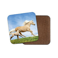Palomino Horse & Foal Coaster - Horses Arab Baby Animal Girls Pretty Gift #15408
