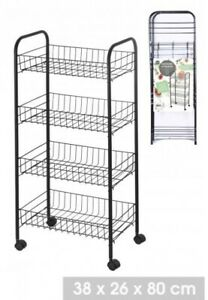 4 Tier Black Metal Wire Kitchen Trolley Vegetable Storage Cart Rack with Wheels