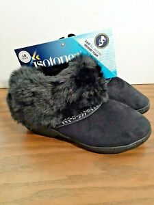ISOTONER-Black FUR TRIM-FAUX SUEDE-MEMORY FOAM-BOOT-SLIPPERS-SIZE 8.5-9