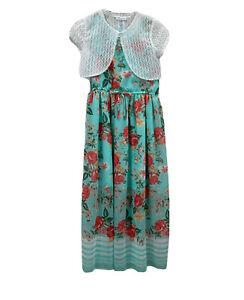Bonnie Jean Girls Sleeveless Sundress Floral With Shrug Summer Plus Sz 16.5 NEW
