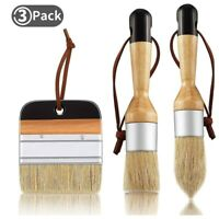 3Pack Chalk and Wax Paint Brushes Bristle Stencil Brushes for Wood FurnitureY5J1