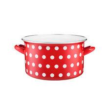 HIGH QUALITY Pot Enamel CARBON STEEL POTS Casserole Cookware 22cm RED WHITE DOTS