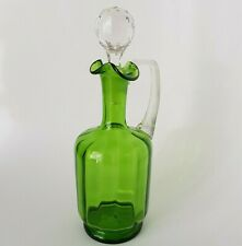 Antique Green Glass Flagon Claret Jug Decanter Carafe Victorian Edwadian :A5