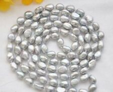 Natural 7-8MM SILVER GRAY Freshwater Baroque pearl necklace 34''