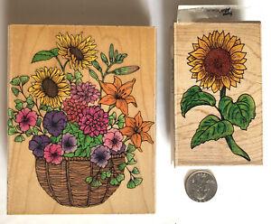 Lot of 2 Vintage Rubber Stamps HERO ARTS Flower Basket & Stamp Affair Sunflower